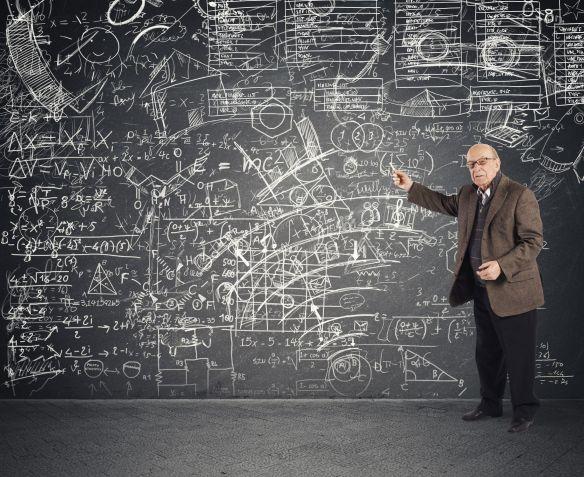 45705087 - genius aged teacher explains a complicated lesson